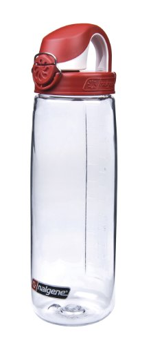 Nalgene Tritan On The Fly Water Bottle, Clear with Red/White, 24Oz