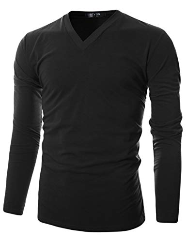GIVON Mens Slim Fit Soft Cotton Long Sleeve Lightweight Thermal V-Neck T-Shirt/DCP043-BLACK-L