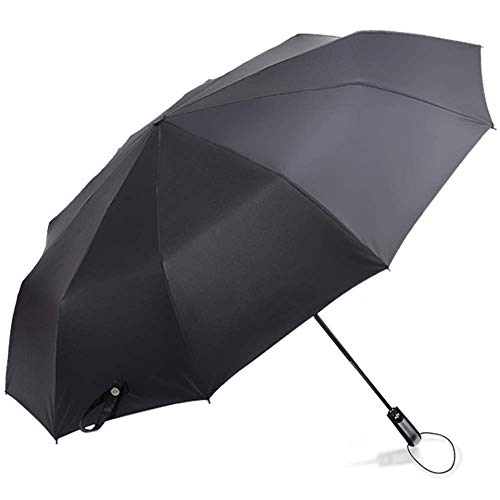 Kalovin Windproof Auto Umbrella - 10 Reinforced Fiberglass Ribs Compact Folding Travel Umbrella for Women & Men with Ergonomic Handle (Black) ()