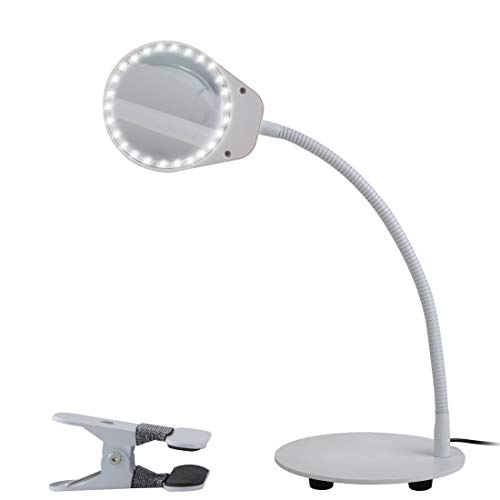 Tomsoo Dimmable 5X Magnifying Lamp - 2 in 1 Magnifier Desk Lamp LED Reading Light With Utility Clamp, Magnifying Glass Lens With Light, Task Lamp for Reading, Crafts, Hobbies, Repair, Workbench, White by TOMSOO