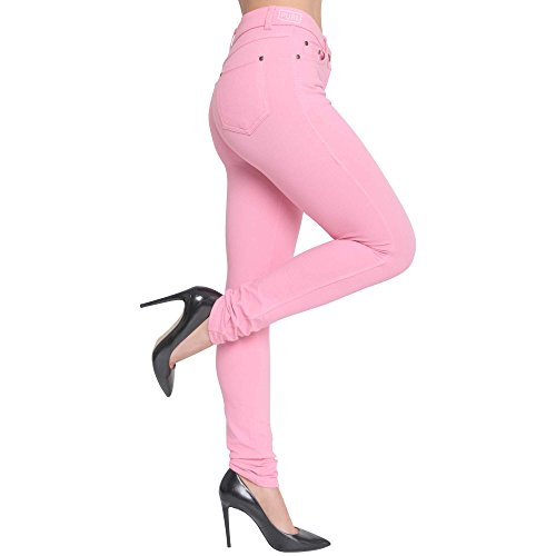 Superglamclothing - Jeggings Jean Extensible Coupe Mince Color Femmes Rose - Rose bb