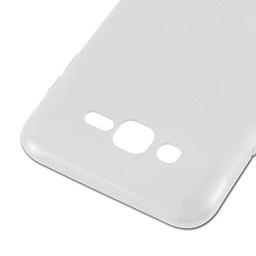 Cadorabo �?Samsung Galaxy J7 (5) (Modelo 2015) Cubierta protectora de silicona TPU en diseño X-Line �?Case Cover Funda Carcasa Protección en ÓXIDO-NEGRO SEMI-TRANSPARENTE