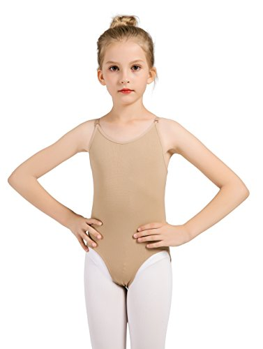 Women and Girls Nude Seamless Camisole Undergarment Leotard with Transition Straps(8-14Years)