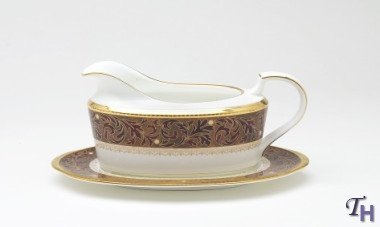 Noritake Xavier Gold 2-Piece Gravy Boat with Tray - Gold Gravy Boat Stand