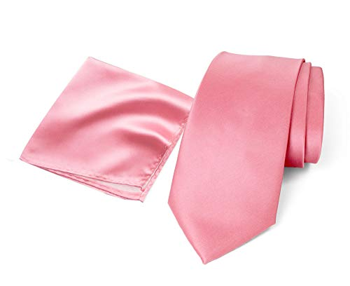 (Spring Notion Men's Solid Color Satin Microfiber Skinny Tie and Hankerchief Set Dusty Rose)