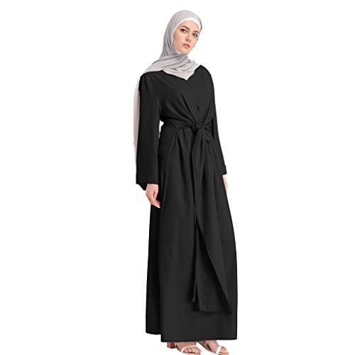 Muslim Dress Fashion Muslim Kaftan Women Soild Color Fake Two-Piece Sleeve Long Dress Middle East Long Maxi Dress Black by BingYELH Muslim (Image #4)