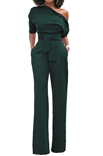 ABCWOO Womens One Shoulder Solid Jumpsuits Wide Leg Long Romper Pants With Belt (Womens Ems Jumpsuits)