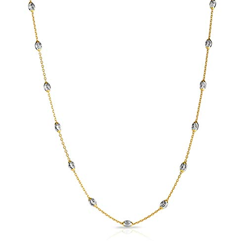 (Verona Jewelers Sterling Silver Station Oval Bead Necklace for Women- Moon Bead Station Necklace and Anklet (10-36) 4 Colors (18, Two Tone Gold))