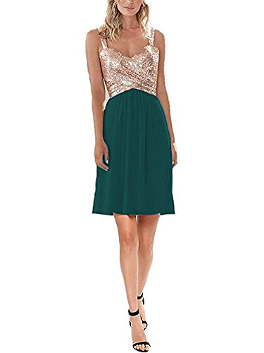 Firose Women's Sequined Sweetheart Backless Rose Gold Short Prom Bridesmaid Dresses Rose Gold/Teal US12 ()