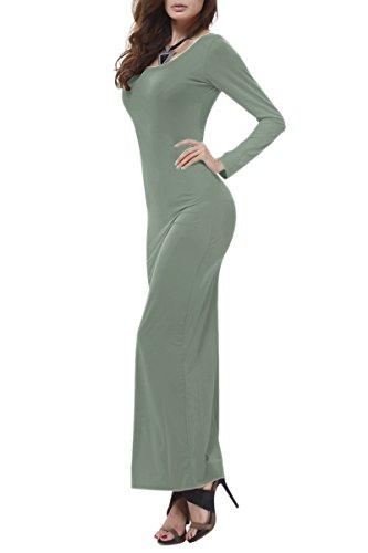 YMING Mujeres Vestido de Verano Stretch Maxi vestido de manga larga Verde