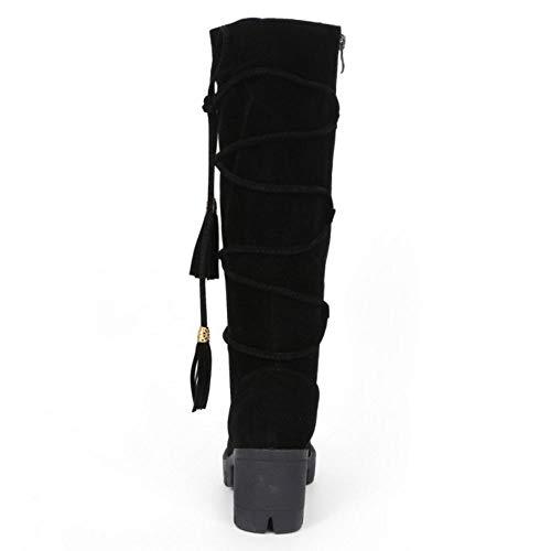 Bottes Hiver Black Zipper Élégant Doux Femmes Taoffen Longue XFwq0nUX6
