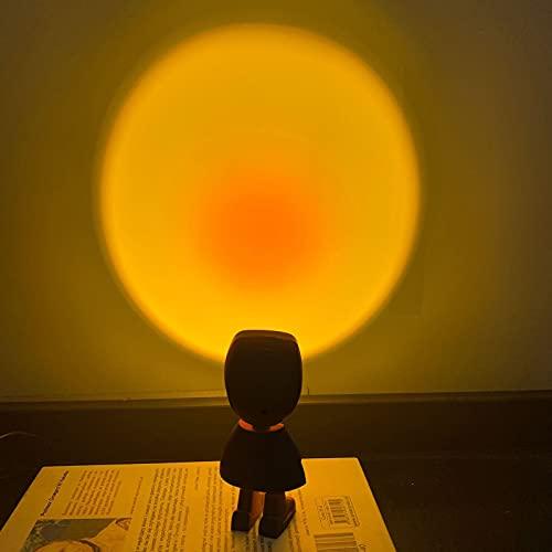 Sunset Lamp, Sunset Projektor LED-Licht,360 ° Drehbar Romantisches Visuelles Sonnenuntergang Projektion Lampe, LED Projektor Lampe Licht, modernes Stehlampe, Atmosphäre Nachtlicht Dekor