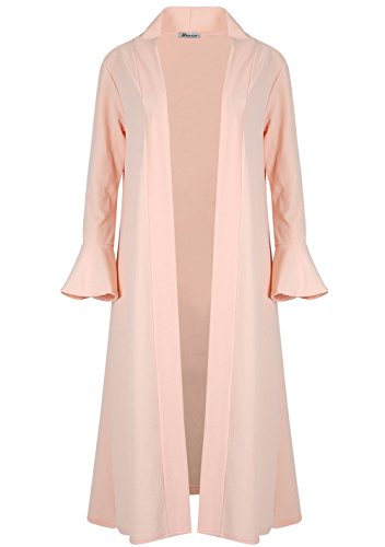 (Womens Ladies Front Open Ruffle Frill Long Sleeve Duster Jacket Maxi Cardigan Nude)