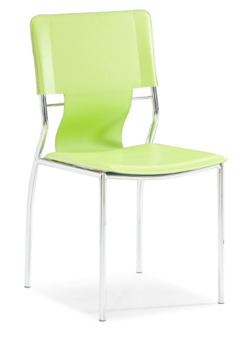 Trafico Set - Trafico Set of 4 Commercial Grade Green Leatherette & Chromed Steel Dining Chair
