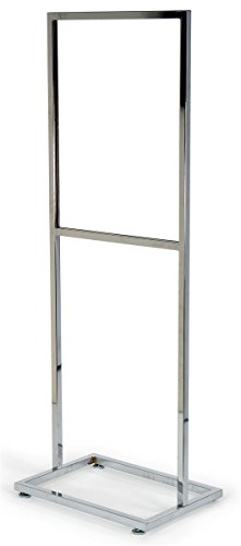 (Displays2go 22 x 28 Inches Twin Pole Poster Stand with Top-Loading Design, Floor-Standing Sign Holder for Double-Sided Presentations, Chrome Finish (EMPS2228CH))