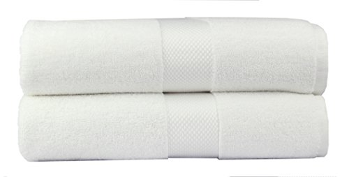 Cotton Craft – 2 Pack Luxuriously Oversized Hotel Bath Sheet – White – 100% Ringspun Cotton – 40×80 – Heavy Weight 700 Grams – 2 Ply Construction – Highly Absorbent – Easy Care Machine Wash