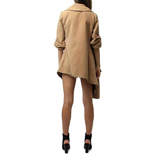 Manteaux Solide Laine Manches Couleur Vêtements Jeune Large Manteau Confortable Casual Cardigan Femmes Irrégulier Kaki Automne Revers Mode Outwear En Hiver Longues À qOXEq6wv