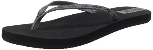 - Reef Womens Slim Ginger Leather Sandal/Flip Flops/Slipper Footwear, Black/Grey, Size 8
