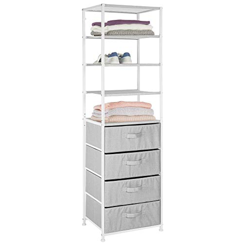 mDesign Modular Closet Organizer System, Tall Vertical Storage Unit - Sturdy Steel Frame, Easy Pull Fabric Bins for Bedroom, Hallway, Entryway, Closets, Textured Print - 4 Drawers, 4 Shelves - Gray