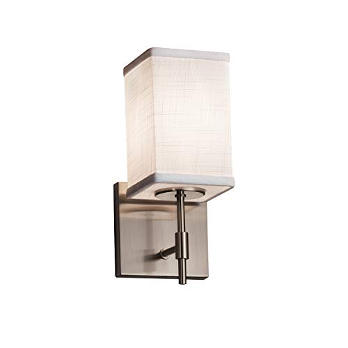 Justice Design Group Lighting FAB-8411-15-WHTE-NCKL-LED1-700 Justice Design Group - Textile - Union 1-Light Short Wall Sconce - Square with Flat Rim - Brushed Nickel Finish with White Fabric -