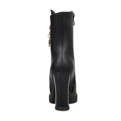 1TO9 Girls Zipper Platform Chunky Heels Imitated Leather Boots Black wi5dn4