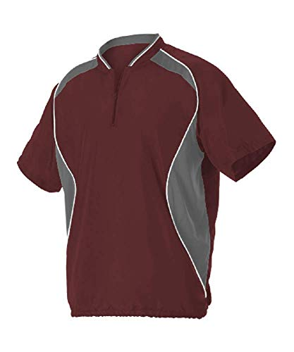 Alleson Adult Baseball Batting Jacket - Maroon / Charcoal - X-Large