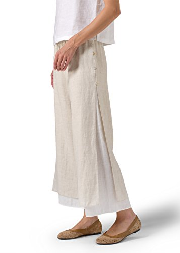 Linen Double-Layer Cropped Pants With Sea Shell Button-2X-Oat/Off White