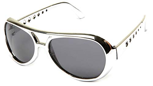 WebDeals - Classic Elvis Style Celebrity Aviator Shades (Silver, Smoke)