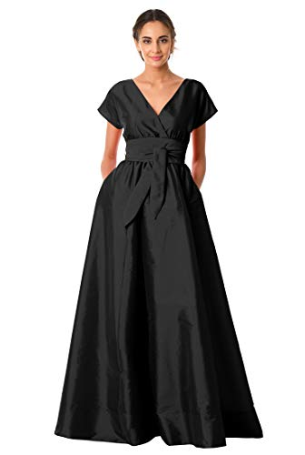 eShakti FX Sash tie Dupioni Surplice Maxi Dress Black