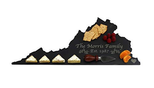 Custom Virginia Slate Cutting Board, Serving Tray, or Cheese Board- Personalized with Laser -