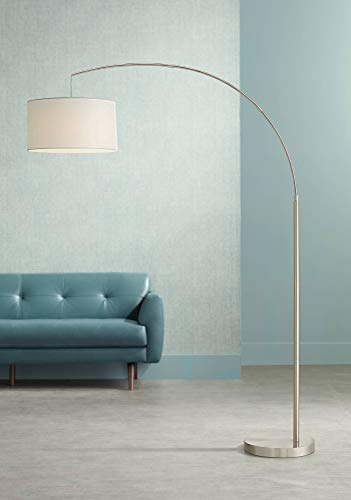 (Cora Modern Arc Floor Lamp Brushed Steel Off White Linen Drum Shade for Living Room Reading Bedroom Office - 360)