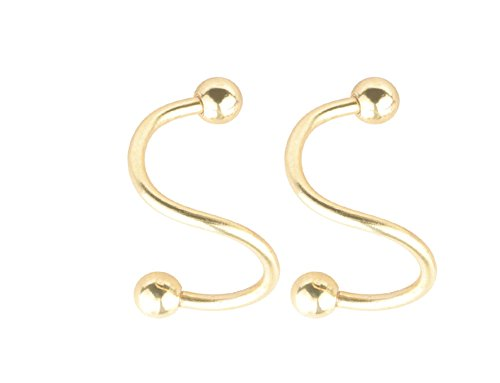 20G 0.8MM Gold Plated 316L Surgical Steel Curved Nose Stud Bone Ring Twister Screws with 2MM Ball Piercing Unisex