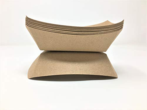 Mr. Miracle Kraft Paper 1/2 Pound Food Tray. Pack of 100. Disposable, Recyclable and Fully Biodegradable. Made in USA