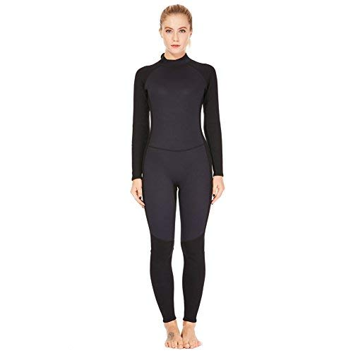 Dark Lightning 3mm Wetsuit Women, Women's Wetsuit Long Sleeve Full Suit Premium Neoprene Womens Suit Scuba Diving/Surf/Canoe, Jumpersuit (Black 3/3, Large)