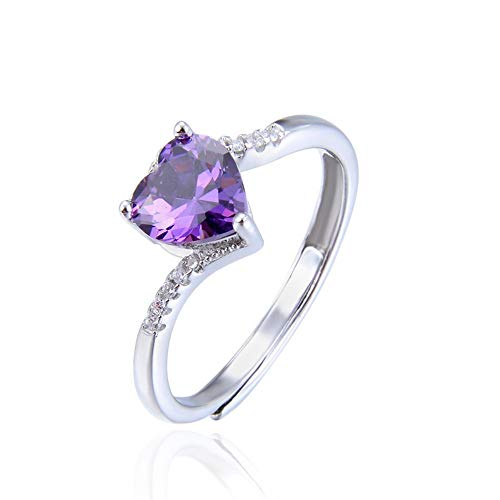 Xuzeyun Ring The Amethyst Ring Sterling Silver Heart Shaped Amethyst Engagement Ring Diamond Birthday, Valentine's Day, Engagement, Promise, we (Color : Silver, Size : Free Size) (1 Carat Emerald Cut Diamond Ring On Hand)