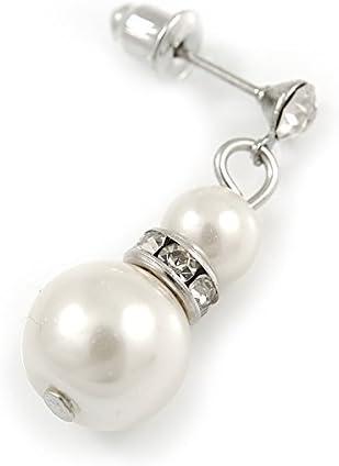Avalaya Parure de Collier et Boucles doreilles Pendantes en m/étal plaqu/é Argent avec Perles de Verre synth/étique Cr/ème Claire 3 brins 50 cm L//5 cm Ext