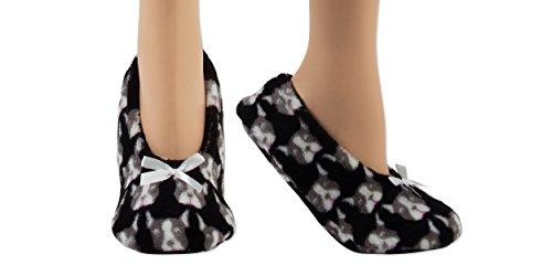 Woman's Light Weight Fuzzy Babba Slipper Socks w/ Non Slip Grips (M/L, 001HP)