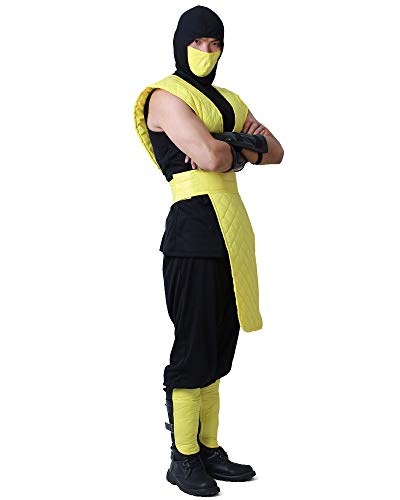 The Real Mortal Kombat Halloween (miccostumes Men's Shotokan Ninja Yellow Fighter Halloween Cosplay Costume (Men)