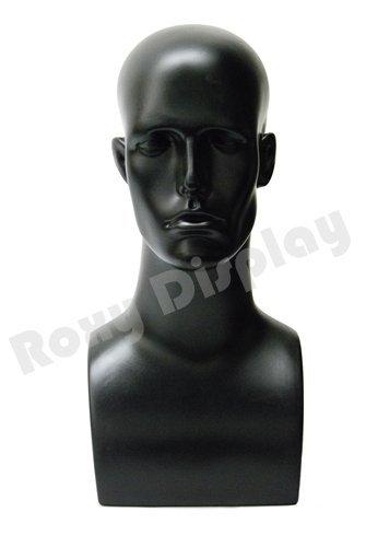 BLACK 17 Tall Male Mannequin Head Durable Plastic PS-ERABLACK-PS