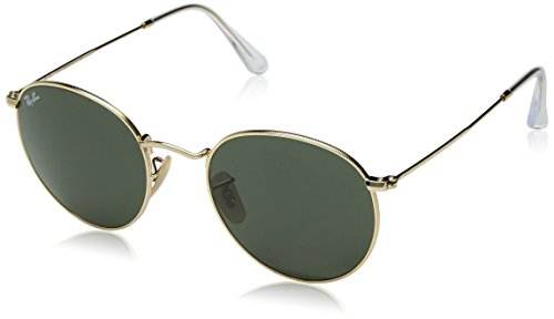 (Ray-Ban RB3447 Round Metal Sunglasses, Gold/Green, 53 mm)