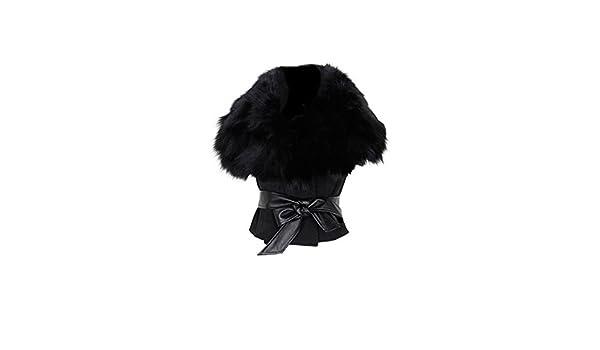 TOOGOO(R)Mujer Piel Sintetica Domingo Angora Hilos Escudo Mangas Abrigos con Cinturon Negro: Amazon.es: Ropa y accesorios