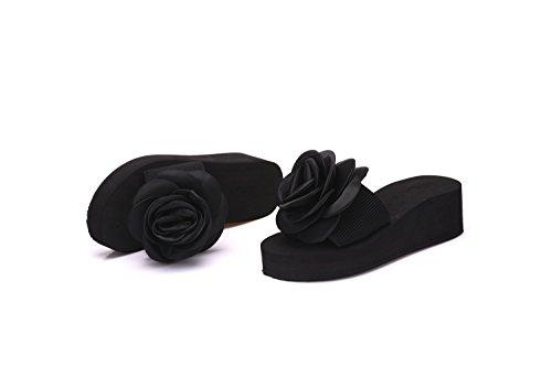 LIVY de nuevo las rosas silvestres femenina palabra arrastre de espuma antideslizante de fondo plano informal zapatillas de playa de fondo grueso de verano Negro