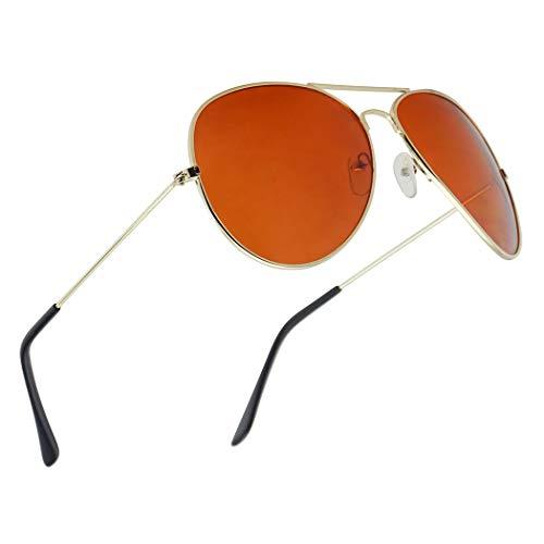 (SunglassUP Gold Original Aviator Blue Blockers Full Metal Driving Sunglasses for Men and Women (Gold Frame   Orange) )