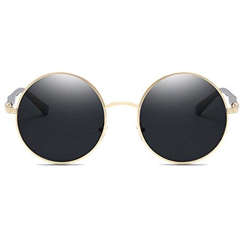 retro de de con montura metal sol mujer de Gris Gafas de Marco Oro redonda Gafas Aiweijia Todo vintage PwqR5S