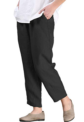 Mordenmiss Women's Linen Ankle Pants Capris Cropped Tapered Trousers with Pockets (M,Black)
