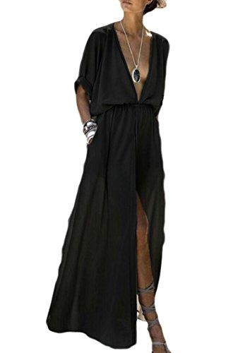 Long Womens Party Slit Front Sexy Cocktail V Maxi Neck Jaycargogo Dress Black Deep dz8dY