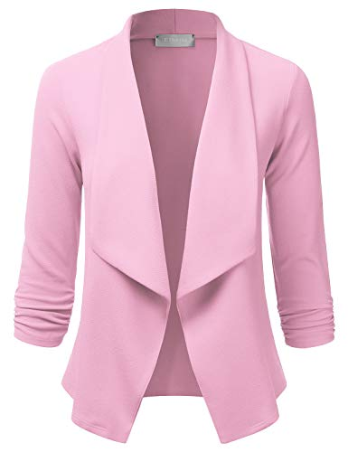 (EIMIN Women's Lightweight Stretch 3/4 Sleeve Blazer Open Front Jacket LIGHTPINK S)