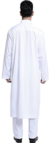 Ababalaya Men's Long Sleeve Mock Neck Solid Salwar Suits Dubai Robe Sets, White, L by Ababalaya (Image #4)