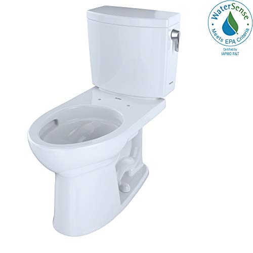 TOTO CST454CUFRG#01 Drake II 1G Two-Piece Elongated 1.0 GPF Universal Height Toilet with CeFiONtect and Right-Hand Trip Lever, Cotton White