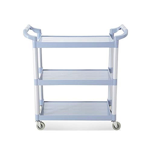 ZCF YEUX Hand Trucks Heavy-Duty 3-Tier Service Trolley for Catering/Restaurant/Cleaning (Gray Blue)